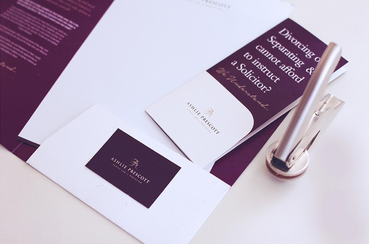 Ashlie Prescott Branding, Folder Design, Business Card, Letterhead and Embosser